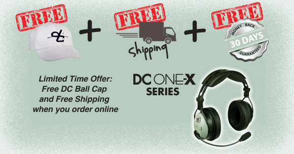 infographic showing hat, free shipping, and 30 day guarantee for headset